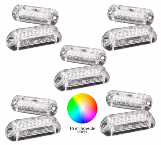 Kit Master 10 Farol Avulso Ajk Rgb P/ Central Bluetooth Bt 3w 9 Leds