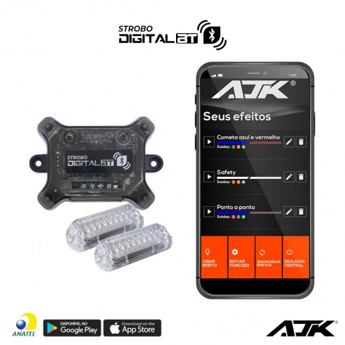 Kit Strobo Ajk Rgb Led 2 Faróis 3W Digital Bt Bluetooth