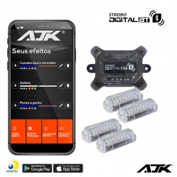 Kit Strobo Ajk Rgb Led 4 Faróis  3W Digital Bt Bluetooth