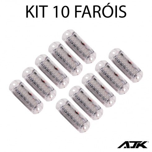 Kit Master 10 Farol Avulso Ajk Rgb P/ Central Bluetooth Bt 3w 9 Leds - foto 2
