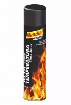 Tinta Spray Alta Temperatura Preto Fosco 400ml Mundial
